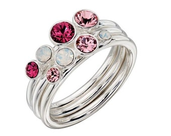 Ombre Pink Crystal Ring Set * Sterling Silver * Stacking Ring Set * Fuchsia, Light Rose, Opal