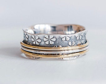Personalized Sterling Silver Spinner Ring for Women * Wide Band * Custom Thumb Ring * Flower Pattern * Brass *