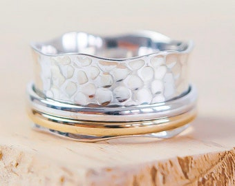 Personalized Sterling Silver Spinner Ring for Women or Men * Wide Band * Custom Thumb Ring * Hammered Design *