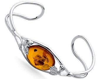 Fae * Baltic Amber Bracelet * Sterling Silver * Amber Jewellery Gift * Genuine Amber * Amber Bangle * Honey Amber * Amber for Adults