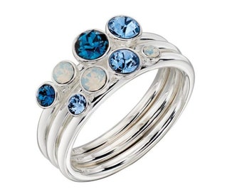 Ombre Blue Crystal Ring Set * Sterling Silver * Stacking Ring Set * Montana, Sapphire, Opal