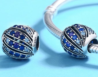 Peacock Feather Charm Bead * Sterling Silver * 4.5mm Inner Diameter * Fits most European Charm Bracelets