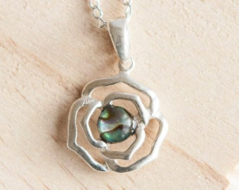 Sterling Silver Rose Pendant Necklace * Personalized with 40 Characters * Choice of 6mm Semi Precious Gemstone *