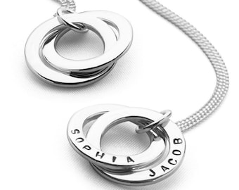 Sterling Silver Mothers Necklace for Women * Personalized with 13 Characters per Ring * Two Circles of Love Pendant Jewelry Design