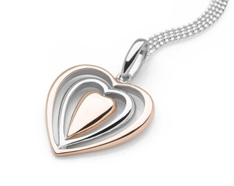 Sterling Silver and 18ct Rose Gold Heart Necklace for Women or Girls * Personalized with 40 Characters * Love Heart Pendant Jewelry Design