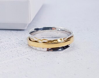 Personalized Sterling Silver Spinner Ring for Women * Slim Band * Custom Thumb Ring * Hammered Design *