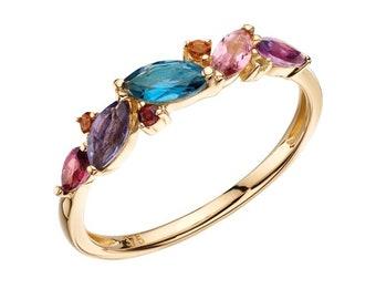 London Blue Topaz, Iolite, Pink Tourmaline, Garnet, Purple Amethyst, Citrine, Peridot Ring * 9ct White Gold * Unique Womens Engagement Ring