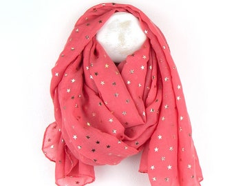 Personalised Coral Scarf with Metallic Rose Gold Multi Star Print - 70cm x 180cm