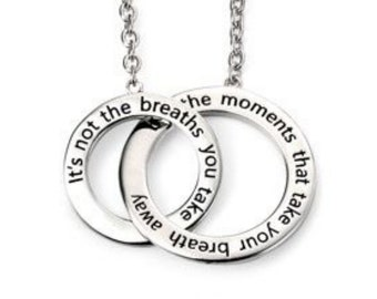Sterling Silver Inspirational Necklace for Women or Girls * Personalized with 40 Characters * Two Circles of Love Pendant Jewelry Design