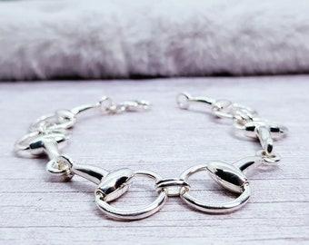 Personalised Snaffle Bracelet * Sterling Silver * Snaffle Bangle * Snaffle Jewelry * Silver Snaffle * Horse Bit Bracelet * Equestrian * Gift
