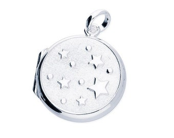 Personalized Sterling Silver Star Locket Necklace * 2 Picture Photos * Memorial Keepsake * Mourning Charm *