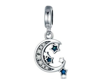 Moon and Star Charm Bead * Sterling Silver * 4.5mm Inner Diameter * Fits most European Charm Bracelets