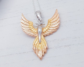 Personalized Sterling Silver and 18ct Rose Gold Rising Phoenix Pendant Necklace for Men or Women - Fantasy and Mythology