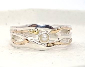UK M Freshwater Pearl Ring * Sterling Silver * Rustic Organic Jewelry * Unique Womens Engagement Ring * Promise Ring