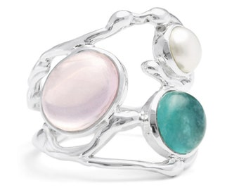 Rose Quartz, Apatite and White Pearl Ring * Sterling Silver * Rustic Organic Jewelry * Unique Womens Engagement Ring * Promise Ring