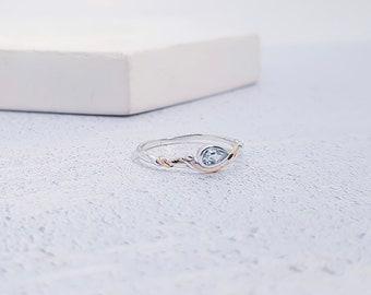 Personalized Sterling Silver Sky Blue Topaz Gemstone Ring for Women - November Birthstone