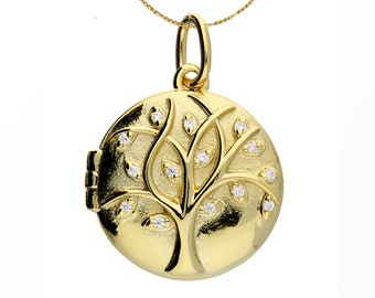 Personalised Yellow Gold Tree of Life Under the Stars Locket Pendant Necklace