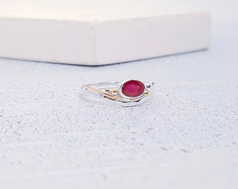 Personalized Sterling Silver Pink Ruby Ring Gemstone for Women - July Birthstone