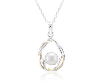 Personalized Sterling Silver Organic Teardrop Pendant Necklace with White Freshwater Pearl