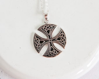 Personalised Celtic Cross Necklace * Sterling Silver * Scottish Celtic Cross * Celtic Cross Pendant * Celtic Cross for Men * Gift