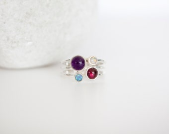 Sterling Silver Amethyst, Garnet and Opal Triple Banded Ring