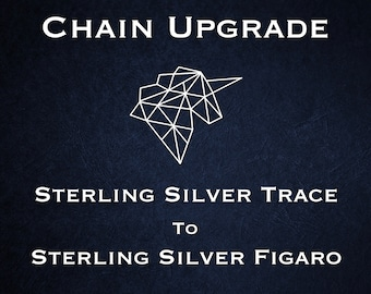 Chain Upgrade to 1.3mm Figaro Chain * 14 16 18 20 22 24 28 32 inches * Sterling Silver