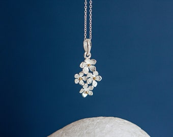 Sterling Silver and 14ct Gold Forget Me Not Pendant Necklace