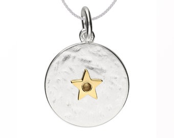 Personalized Sterling Silver and 18ct Gold Star November Birthstone Pendant Necklace with Cubic Zirconia Citrine Gemstone