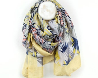 Personalised Yellow and Blue Mix Square Scarf with Flower Print - 180cm x 180cm