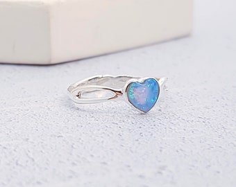 Sterling Silver and Blue Opal Heart Ring for Women * Personalised with 40 Characters *