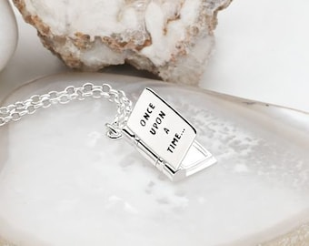 Personalized Sterling Silver Book Locket Pendant Necklace for Women or Girls * Happily Ever After / Once Upon a Time
