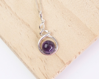 Sterling Silver Spiral Pendant Necklace * Personalized with 40 Characters * Choice of 10mm Semi Precious Gemstone *