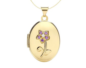Personalised 9ct Yellow Gold Forget Me Not Locket Pendant Necklace