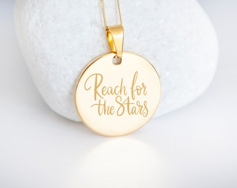 Personalised 9ct Yellow Gold Coin Disc Pendant Necklace - Reach for the Stars