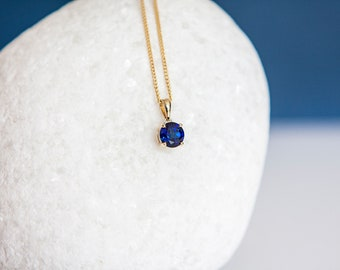Solid 9ct Yellow Gold September Birthstone Sapphire Pendant Necklace