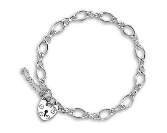 0.7mm Figaro Bracelet Heart Lock Chain * 6 7 8 inches * Sterling Silver * Ideal for Clip Charms