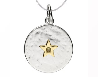 Personalized Sterling Silver and 18ct Gold Star August Birthstone Pendant Necklace with Cubic Zirconia Peridot Gemstone