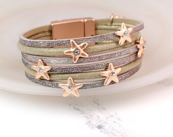 Personalised Taupe Leather Bracelet with Shimmer Finish and Crystal Stars