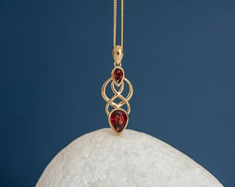 Solid 9ct Yellow Gold Celtic Knot Pendant Necklace with Garnet