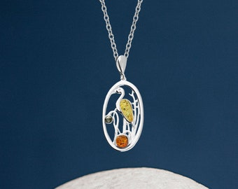 Personalised Sterling Silver Amber Gemstone Heron in the Reeds Pendant Necklace
