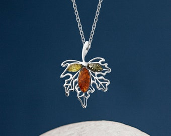 Personalised Sterling Silver Mixed Amber Gemstone Maple Leaf Pendant Necklace