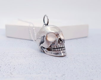 Sterling Silver Human Skull Jewelry for Men or Women * Memento Mori Pendant Design
