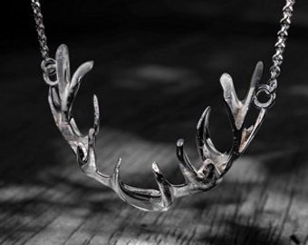 Personalised Deer Antler Necklace * Sterling Silver * Oxidised * Stag Pendant * Memento Mori * Antler Jewelry