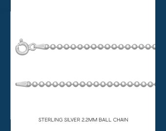 Sterling Silver Ball Bead Chain Necklace - 2.2mm