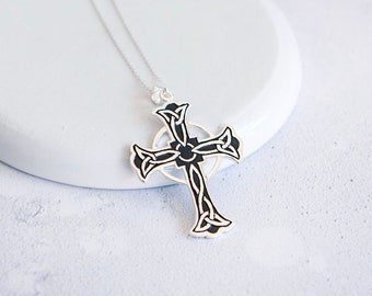 Sterling Silver Celtic Knot Cross Necklace for Men or Women * Personalized With Up To 40 Characters * Heritage Cross Pendant Design