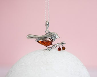 Sterling Silver Amber Robin Pendant Necklace