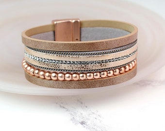 Personalised Blush Leather Bracelet with Rose Gold Beads and Crystals