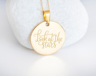 Personalised 9ct Yellow Gold Coin Disc Pendant Necklace - Look at the Stars
