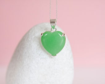 Sterling Silver Jade Heart Pendant Necklace