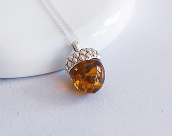 Sterling Silver and Amber Acorn Necklace for Women or Girls * Baltic Amber Acorn Nature Pendant Design